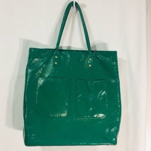 J.Crew Forest Green Patent Leather  tote bag